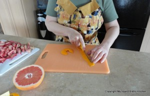 Chop Orange Peel into Small Pieces