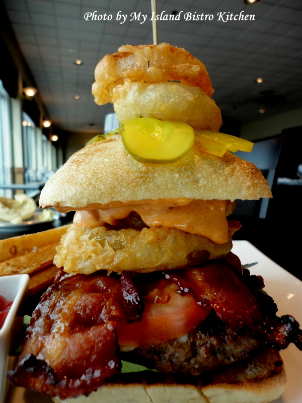 """The Canadian Legend"" Burger from the Lucy Maud Dining Room at the Culinary Institute of Canada, Charlottetown, PEI"