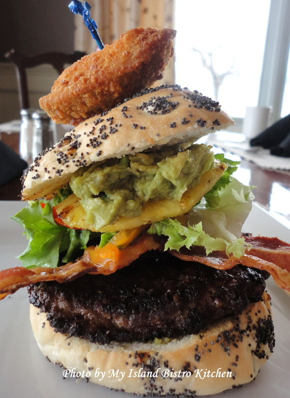 The &quot;Big Kahuna Burger&quot; from the Prince William Dining Room of the Loyalist Inn, Summerside, PEI