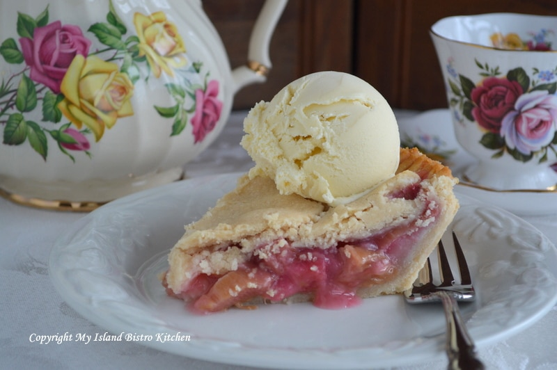 Rustic Rhubarb Pie Served with French Vanilla Ice Cream