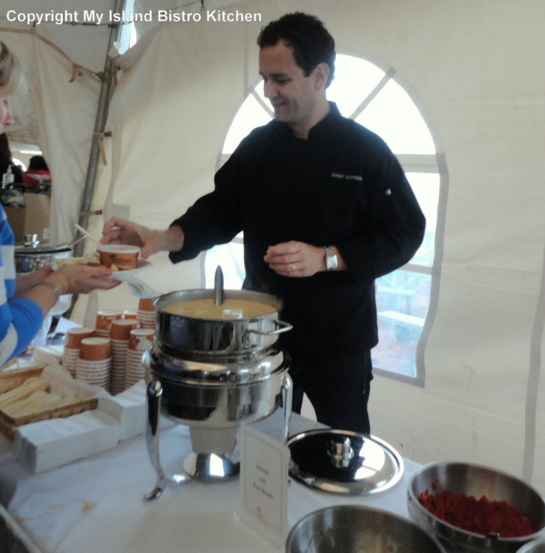 Chef Corbin serving up the best lobster chowder ever!