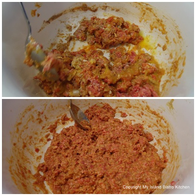 Mixing Meatloaf Ingredients