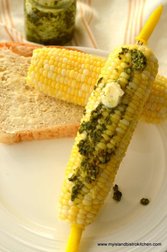 Basil Pesto on Corn on the Cob