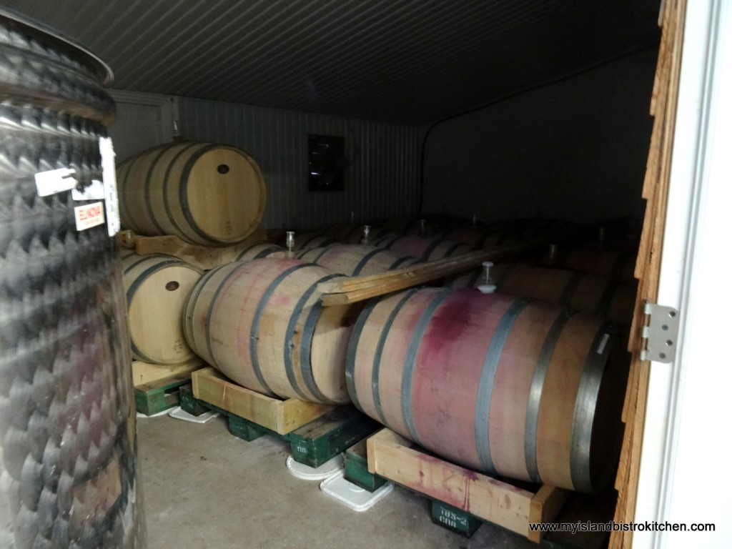 Oak Barrels of Red Wine Aging for Two Years