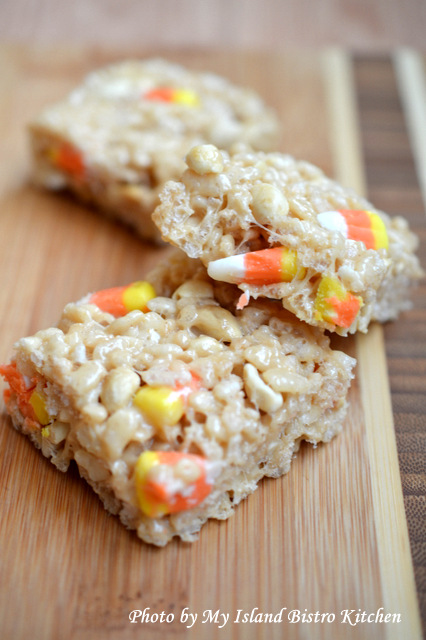 "Payday Candy Corn Rice Krispies Treats from ""Dessert Mash-Ups Cookbook by Dorothy Kern"