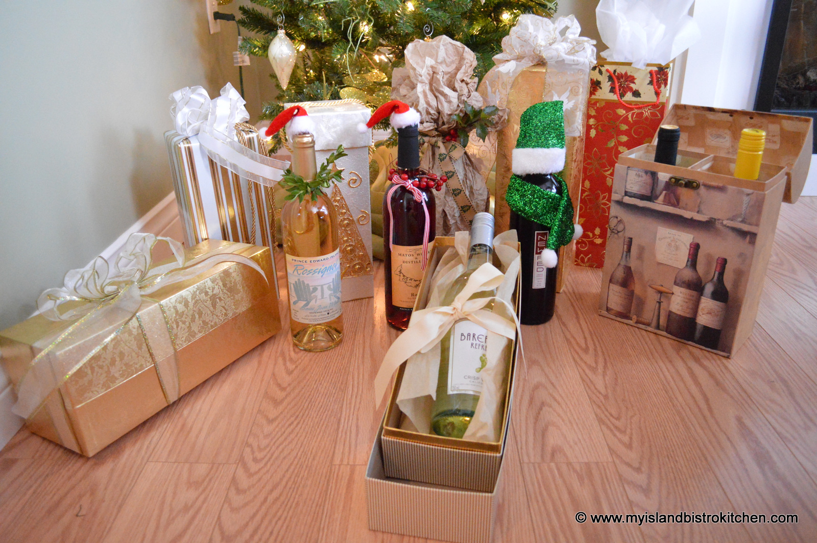 Decorated wine bottles archives my island bistro kitchen for How to decorate a wine bottle for a gift