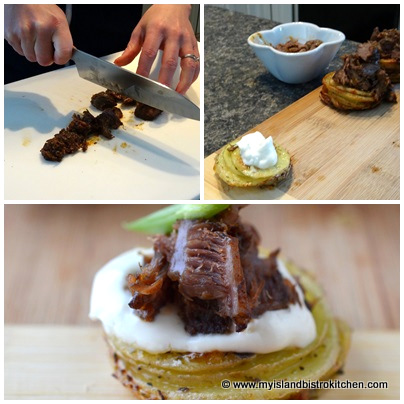 Potato Base Canapé topped with Sour Cream and Braised Beef