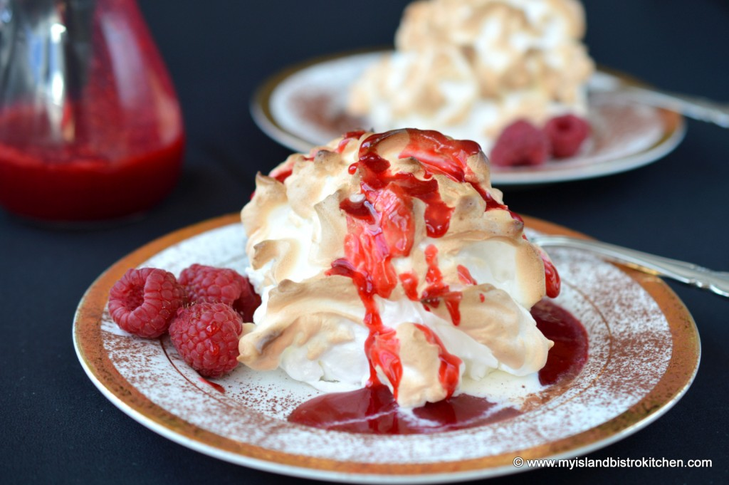 Baked Alaska with Raspberry Coulis