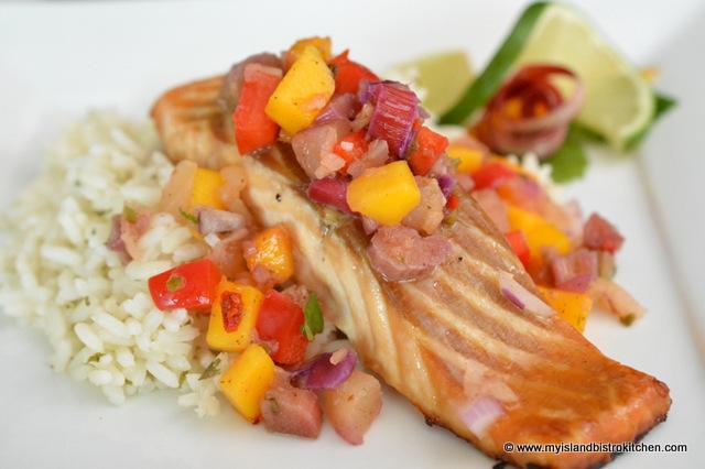 Rhubarb Salsa over Salmon