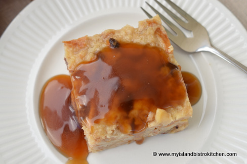 Maple Sauce on Apple-Maple Bread Pudding
