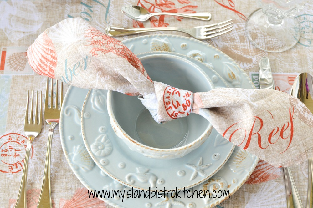 Simple knotted napkin for a seashell-themed tablesetting