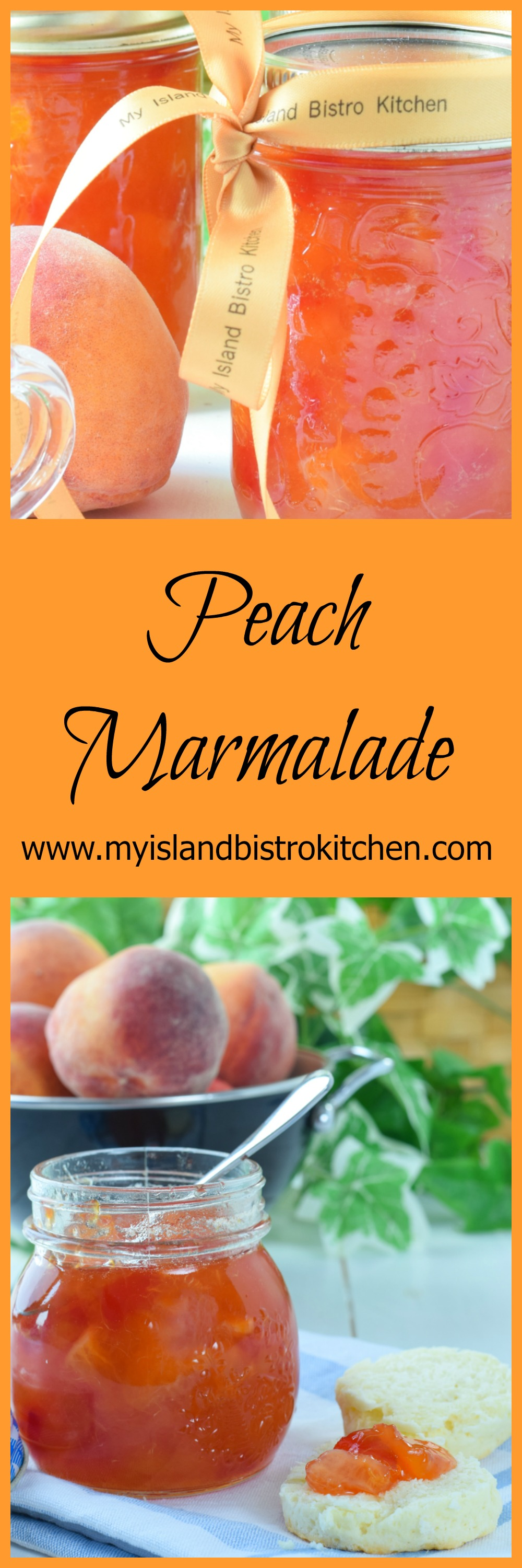 Delicious Peach Marmalade made with fresh peaches, orange, lemon, cherries, and a splash of Peach Schnapps