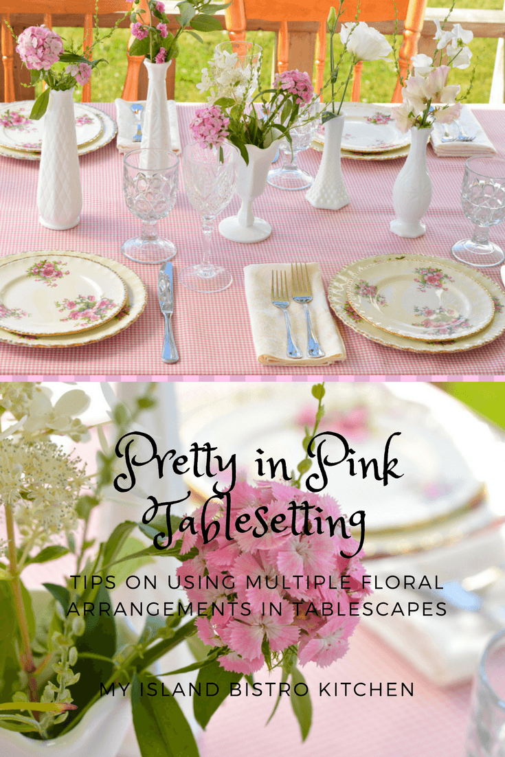 This Pretty in Pink Tablesetting uses multiple floral arrangements to create an effective tablescape for this casual summer dinner.
