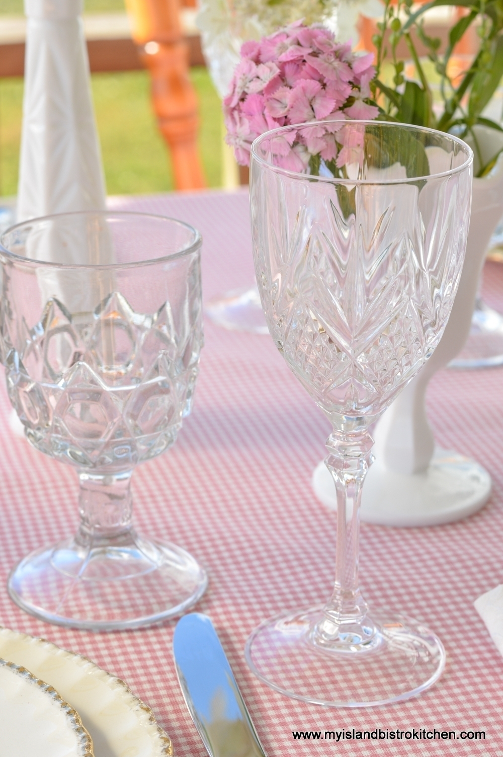 Mixed vintage glassware works in casual tablesettings
