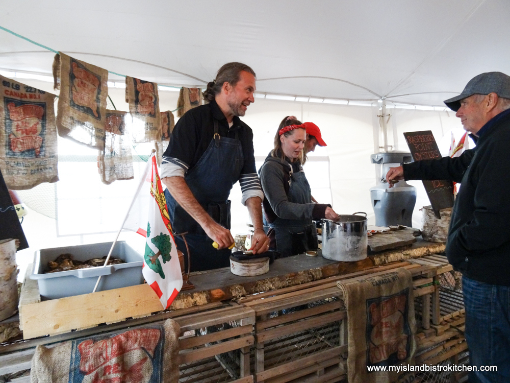 "Chef Michael Smith shucking Raspberry Point Oysters (""Taste of North Rustico"" 2017)"