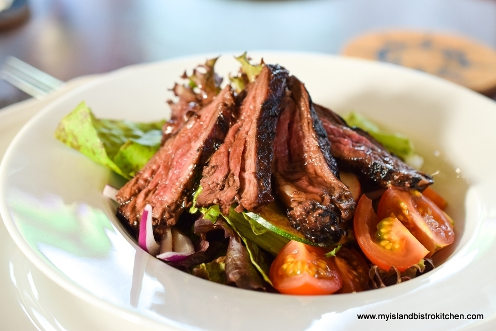 Salad with skirt steak at The Table Culinary Studio in New London, PEI