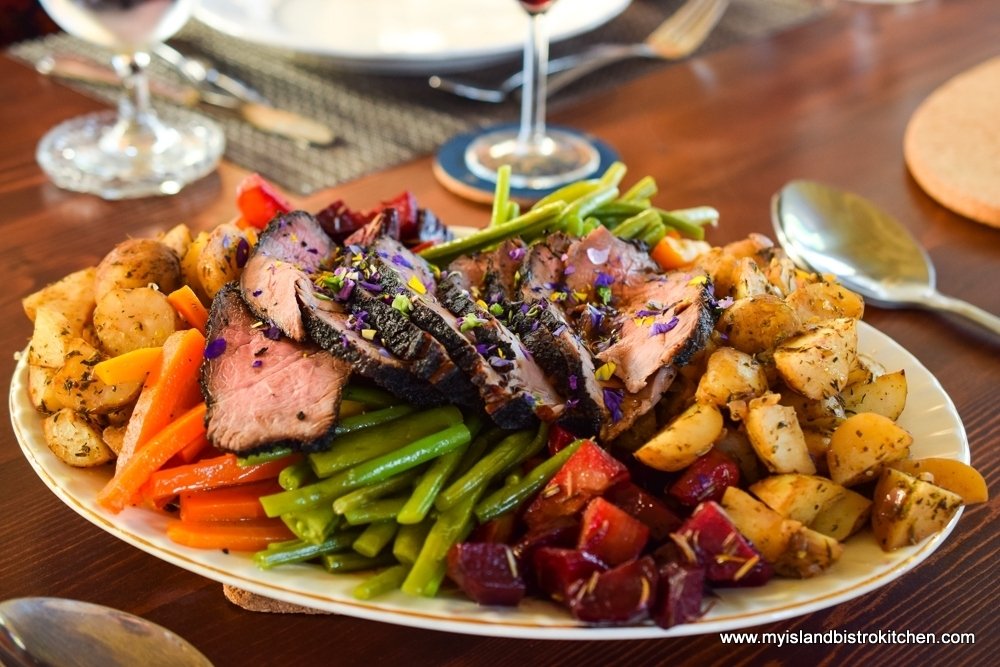 Platter of Vegetables and Sirloin Tip Roast at The Table Culinary Studio, New London, PEI