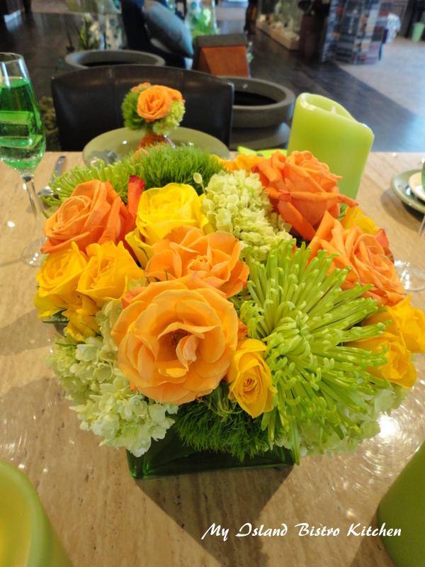 Summer-inspired Floral Centerpiece by Michael Jackson of Prestige Floral Studio, Summerside, PEI