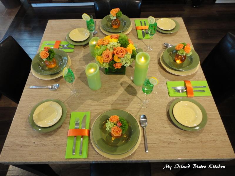 Citrus-inspired Summer Table Setting by Michael Jackson of Prestige Floral Studio, Summerside, PEI