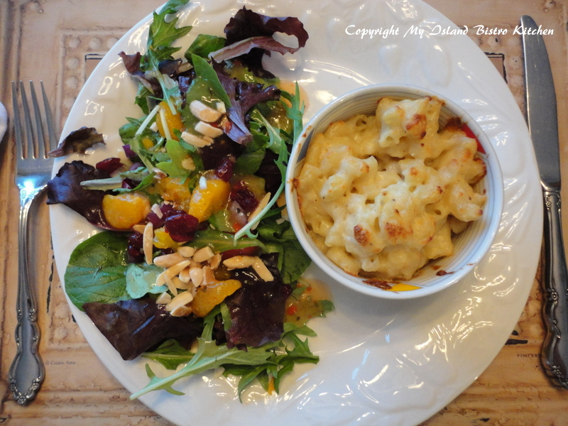 Macaroni and Cheese served with a side green salad