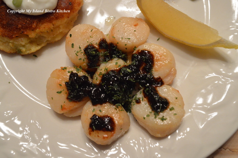 Scallops with Black Garlic