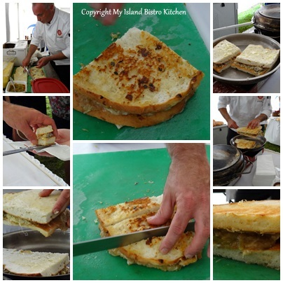 Preparing Chef Massimo's Grilled Cheese and Oyster Sandwich