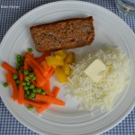 Meatloaf with Riced Potatoes and Mixed Vegetables