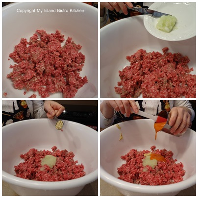 Mixing ground beef, grated onion, mustard, and tomato soup