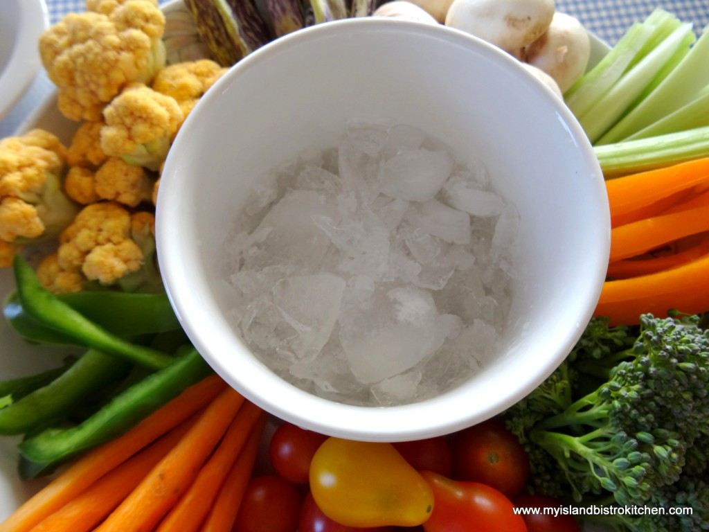 Ice in container for dip