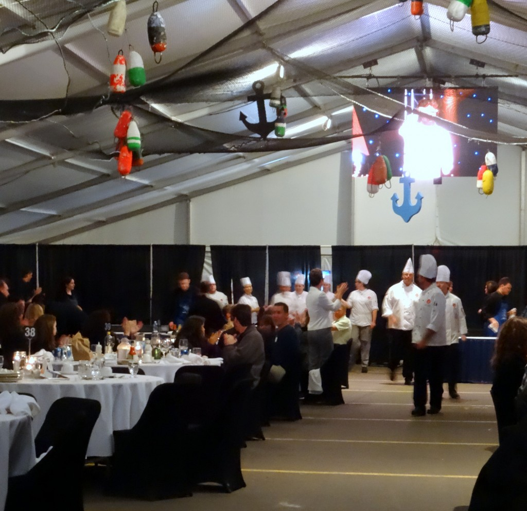 Parade of large cuinary team from the Culinary Institute of Canada who prepared the meal