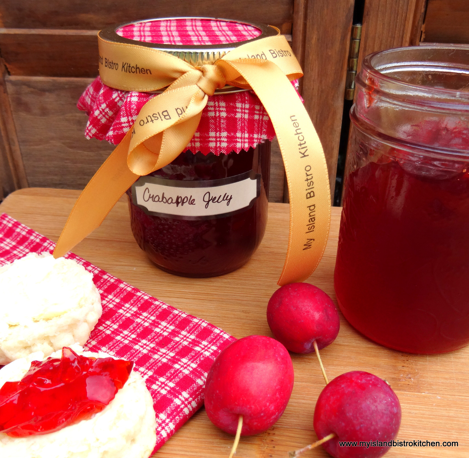 Bottles of Red Crabapple Jelly