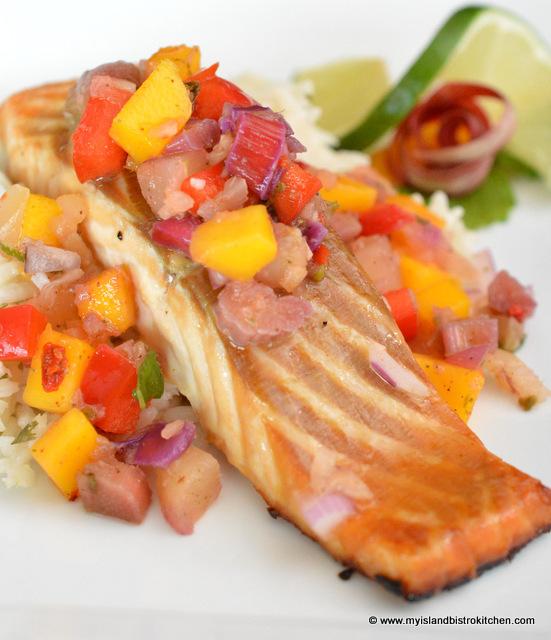 Rhubarb Salsa on Salmon