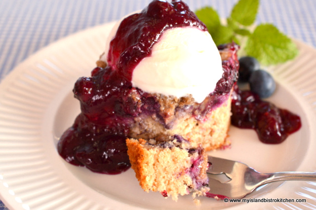 Blueberry Buckle with Vanilla Ice Cream Drizzled with Blueberry Sauce