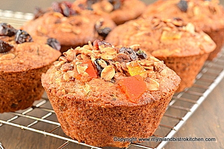 Zucchini Granola Muffins on wire cooling rack