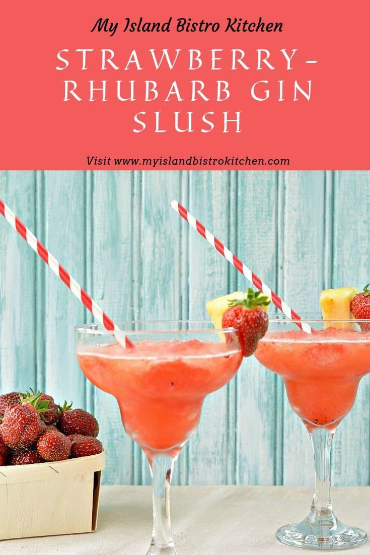 Glasses of Strawberry-Rhubarb Gin Slush
