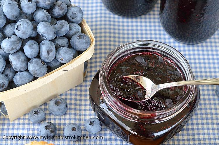 Jar of Blueberry Jam made with highbush blueberries