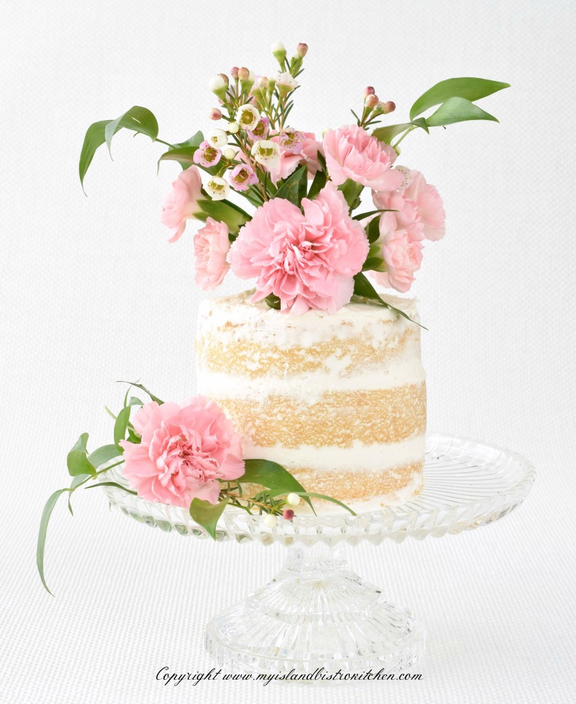Cake decorated with fresh flowers