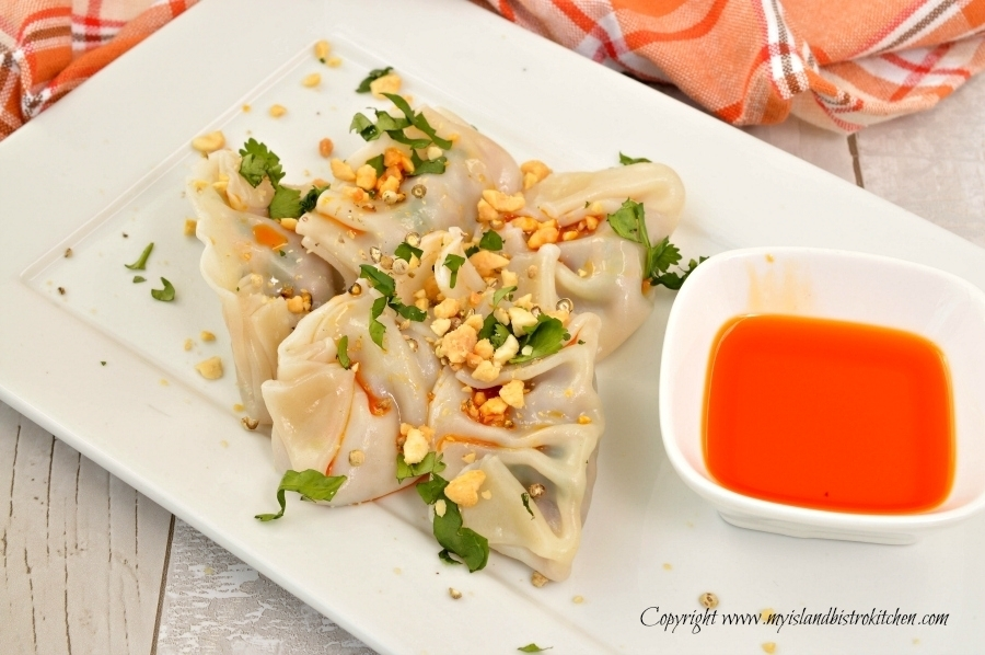 Jason Lee's Beef and Coriander Dumplings, served with spicy chili oil