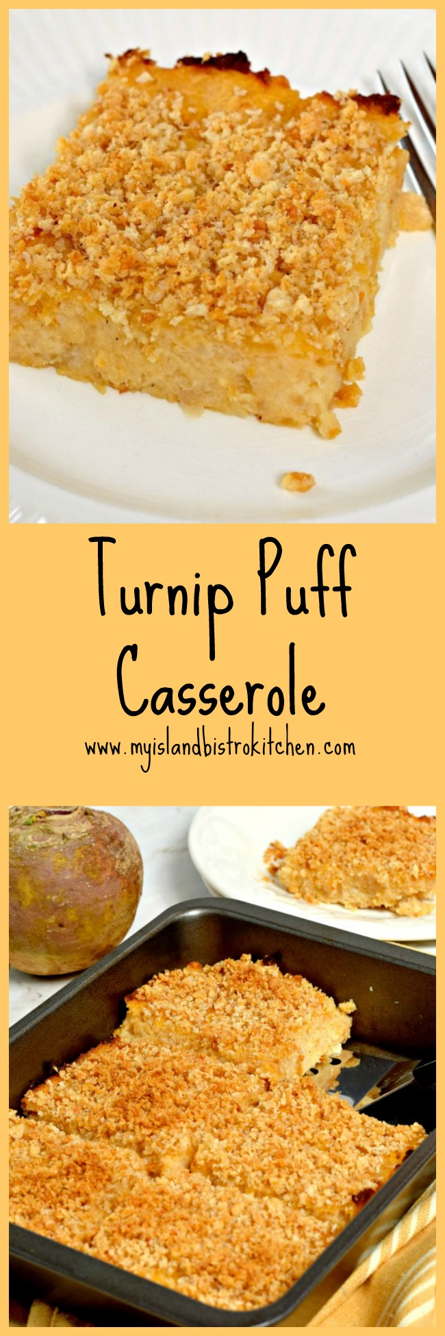Turnip Puff Casserole - perfect side dish to turkey, beef, or pork