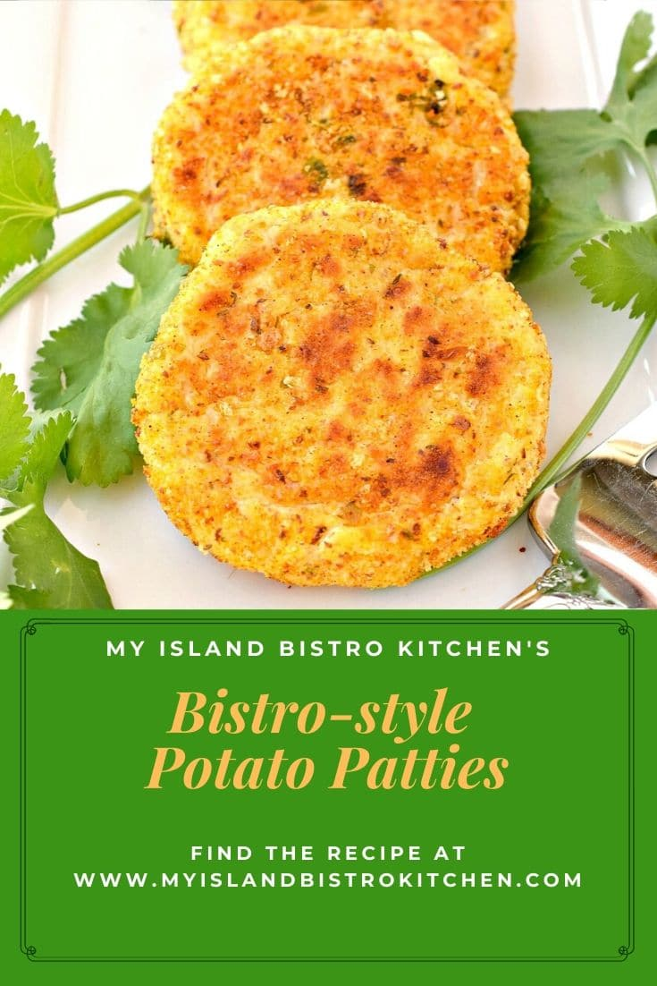 Potato Patties accented with sprigs of parsley on a white plate