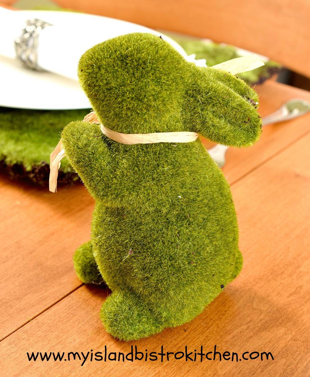 Green Faux Moss Bunny