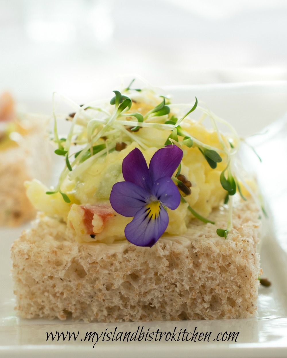 Open-faced Egg Salad Tea Sandwich