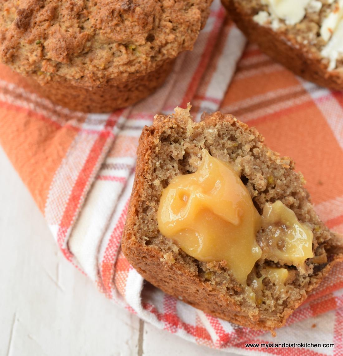 Rhubarb Curd Spread on Muffins