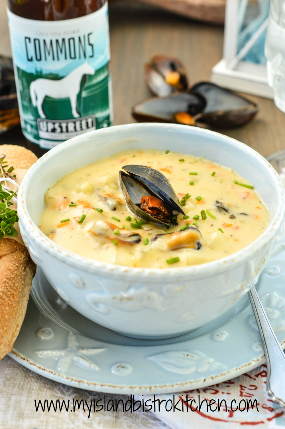 PEI Mussel Chowder Paired with Upstreet Brewing Company's Commons Czech Style Pilsner