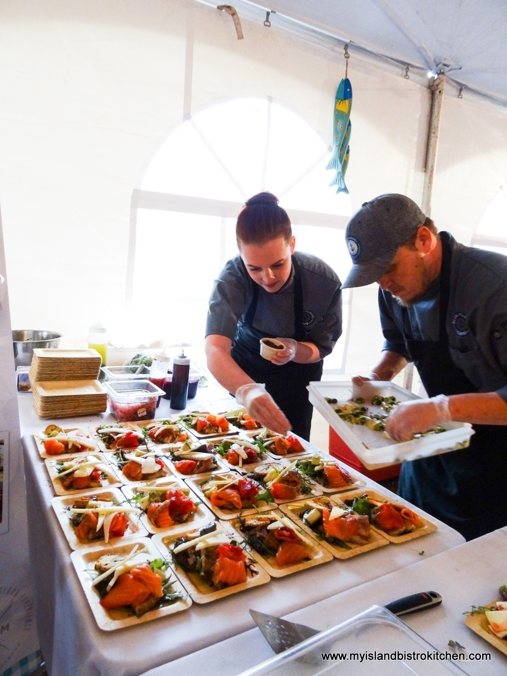 "Preparing the Charcuterie Plates from Blue Mussel Café (""Taste of North Rustico"" 2017)"
