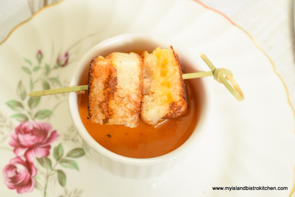 Cream of Roasted Tomato Soup with Grilled Cheese Squares