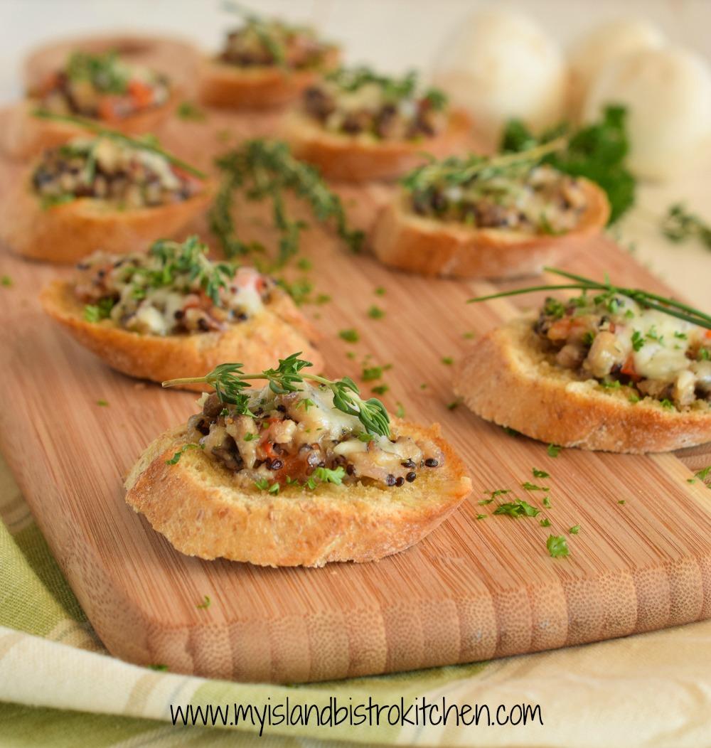 Savory Mushroom and Quinoa Crostini Hors d'oeuvres