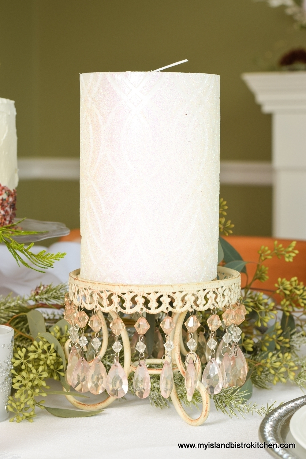 Pink jeweled candlestands