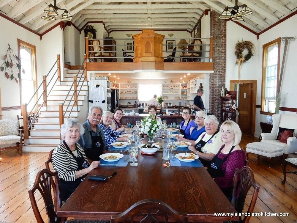Students Gather at the Harvest Table Following a Cooking Class at The Table Culinary Studio in New London, PEI
