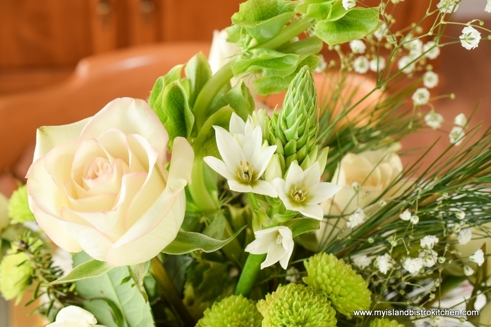 The Christmas Rose with Baby's Breath and Green Chrysanthemum